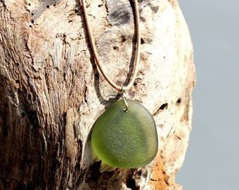 Hawaiian Olive Green Beach Glass Wire Wrapped in 925 Sterling Silver on India Leather Necklace
