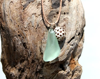Hawaiian Aqua Blue Teal Beach Glass & Hawaiian Drupe Shell Wire Wrapped in 925 Sterling Silver on India Leather Necklace