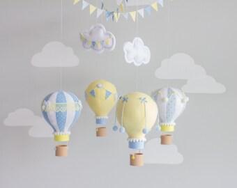 Baby Mobile, Hot Air Balloon, Nursery Decor, Travel Theme Nursery, Ceiling Mobile, Sunshine and Vodka, i113