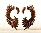 Fake Gauge Earrings Wooden Wings Tribal Earrings - Gauges Fake Plugs Dangle Earrings - FG090 W G1