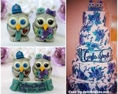 Tattoo wedding owl cake topper, love birds with tattoos inspired by yours, custom cake topper