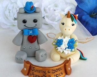 Unicorn bride with rainbow mane and robot groom wedding cake topper, rainbow wedding, customizable
