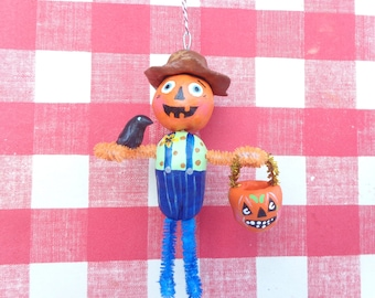 Handmade Sculpted Paper Clay Scarecrow Vintage Inspired Halloween Ornament Decor