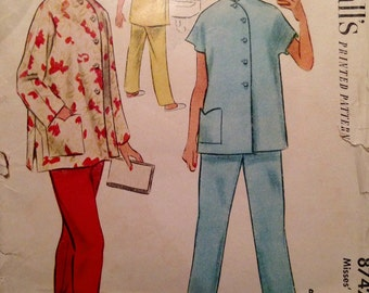 "Vintage 1951 McCall's Misses' Mandarin Collar Pajamas Pattern 3742 Size 14 (32"" Bust)"
