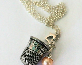 Peter Pan Thimble Necklace with Acorn Hidden Kisses Peter Pan and Wendy Sterling Silver and Freshwater Pearl