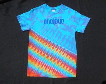One Love Screen Print Rainbow Tie Dye Small Shirt #348