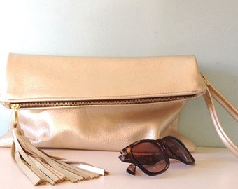 Gold leather clutch bag / gold fold over clutch / evening purse