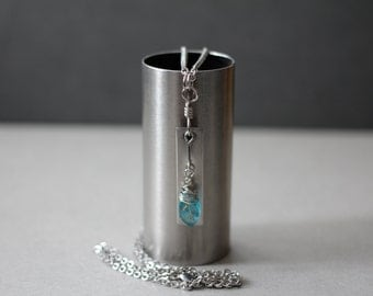 Sky blue - Ice Blue - Turquoise Blue - Stainless Steel Necklace