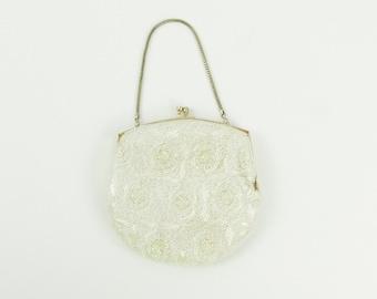 Beaded White Evening Bag - Vintage 1950s Micro Beaded Handbag Purse