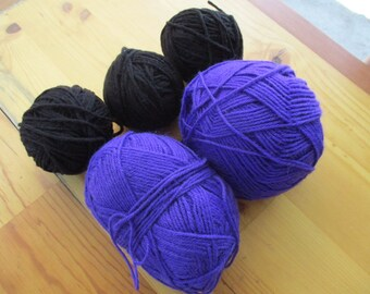 Yarn Acrylic Worsted Weight 4 Ply Knit Crochet Dark Purple 2 Skeins Black 3 Balls Leftovers