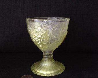Vintage Pressed Glass Decorative Stem with Grapevines Highlighted with Paint