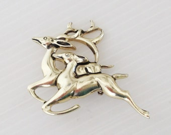 vintage gold color deer brooch, a running buck and a doe brooch, woodland motif brooch