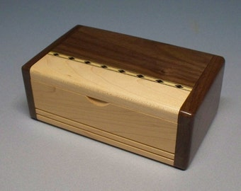 Walnut & Maple Inlay Box, Gift Idea, Best Man Gift, Small Wooden Box, Watch Box, Corporate Gift, Small Wooden Box