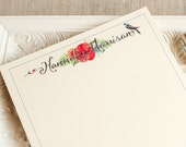 """Personalized Handmade Notepad Colorful Watercolor Flowers Blue Birld Ladybug  5.5"""" x 8.5"""" To Do List Pad  heavy Card Stock 25 pages"""