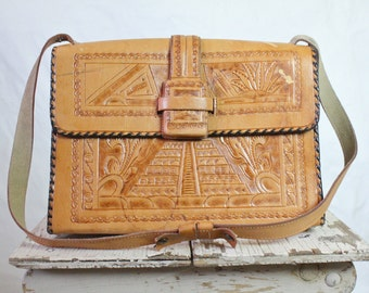 c1970's Tooled Aztec Leather Handbag