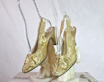 Vintage 60's Metallic Gold Beaded Heels