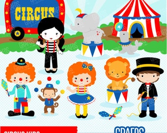 CIRCUS KIDS - Digital Clipart Set, Circus Clipart, Clowns Clipart, Animals Clipart.