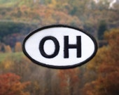 """Ohio OH Patch - Iron or Sew On - 2"""" x 3.5"""" - Embroidered Oval Appliqué - The Buckeye State - Black White Hat Bag Accessory Handmade USA"""