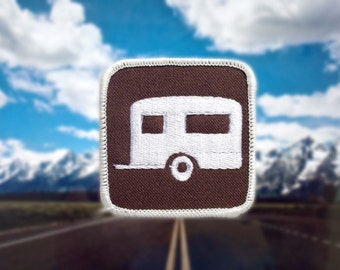"Travel Camper Patch - Iron /Sew On 2.5"" RV Trailer Embroidered Square Appliqué Brown Outdoor Recreation Activity Park Sign Hat Bag Accessory"
