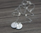 Silver Initial Necklace - Personalized Sterling Stamped Initials - Hand Stamped Letter Jewelry