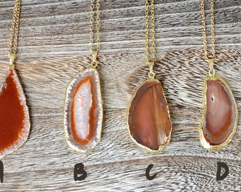 Gold dipped Agate Slice Necklace