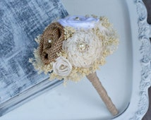Mini Cream, White, & Natural Burlap Wedding Bouquet - Sola Wood Flowers, Fabric Rosette, Burlap, Baby's Breath - Small, Posy, Wand, Tosser