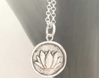 Silver Lotus Necklace Pendant Sterling silver rolo chain minimalist jewelry