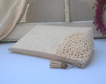 Bohemian Lace Clutch, Linen Clutch Purse, Wanderlust, Bridal Clutch