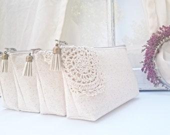 Set of 8 - Bohemian Wedding Clutches,  Spring Wedding, Bridesmaid Clutch Purse, Bridesmaids Gift, Lace Boho Wedding