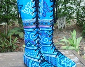 Vegan Womens Boots Blue Hmong Embroidered Boho Boots - Sadie