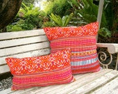 Orange Hmong Embroidered Boho Pillows, Colorful Rectangular Cushion Cover Free Worldwide Shipping