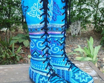 Vegan Womens Boots Blue Hmong Embroidered Boho Boots - Sadie FREE Shipping Worldwide