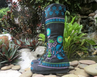 Vegan Womens Boots Turquoise Hmong Embroidery With Birds Boho Boots - Sadie