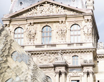 Paris Photograph - Louvre Reflections, Paris Architecture Fine Art Photograph, Neutral Decor, Large Wall Art, Home Decor