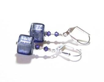 Murano Glass Plum Cube Silver Dangle Earrings, Sterling Silver Leverback Earrings, Post Earrings, Venetian Glass Jewelry, Clip On Earrings