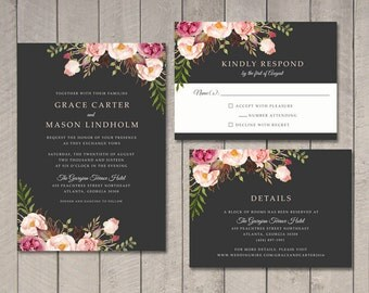Floral Wedding Invitation, RSVP, Details Card (Printable) by Vintage Sweet