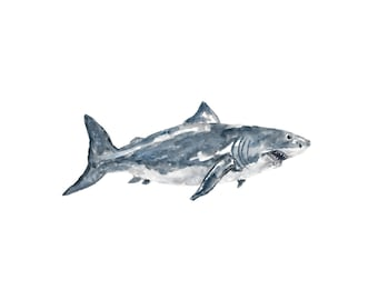 Shark print, ocean print, beach print, beach art, ocean painting, great white shark, watercolor animal print, fish art, shark art, 10X8