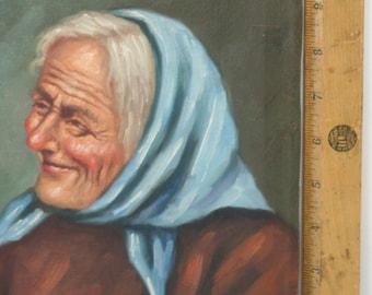 Vintage Original Oil Painting Portrait Beautiful Old Peasant Woman Nona Italian Grandmother European Grandma elderly w/ gray hair blue scarf