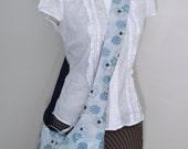 The Sling Bag, Cross-body Bag, Medium - Reversible - Navy and Aqua Floral