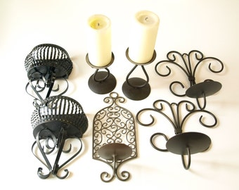 7 pc lot vintage Gothic iron medieval wall hangings sconces candle holders scrolled black metal art