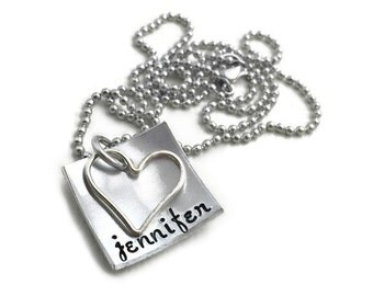 Stamped Custom Square Domed Name Sterling Silver Heart  Aluminum Necklace- Hand Stamped Jewelry - Personalized Jewelry - Engraved Jewelry