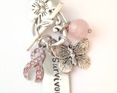 Personalized Pink Breast Cancer Survivor Awareness Toggle Clasp Necklace with Ribbon Butterfly and Rose Quartz Stone