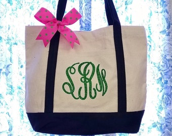 Set of 3 Canvas Tote Bag Personalized Shimmer Heat Vinyl Initials on Pocket