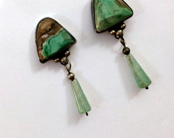 Vintage Handmade Turquoise Fluorite and Sterling Silver Drop Earrings