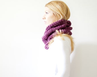 RTS - the SOLOMON cowl - knit cowl scarf chunky scarf cowl scarf  - fig