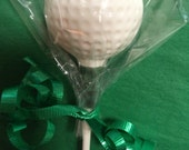 12 Golf Ball on Tee Chocolate Lollipop Party Favors