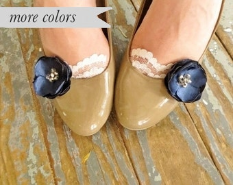 Navy Blue Shoe Clips, Clip On Flower Shoe Accessory, Silk Fabric Flower Bridal Shoe Accessory, Navy Wedding Shoe Accessories, Something Blue