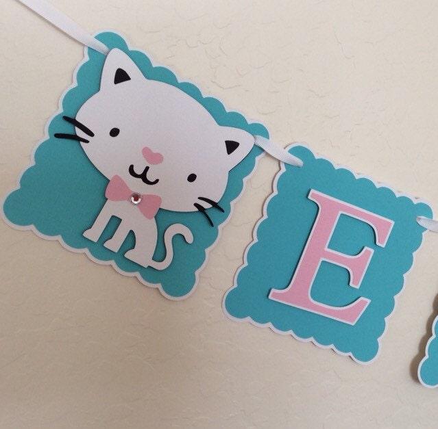 Cat Birthday Banner: Cat Kitty Cat Aqua And Pink Birthday Banner. Aqua Pink