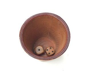 Small Vintage Leather Cup With DICE , Mid Century Modern Decor, Gift For Husband Guy Boyfriend,