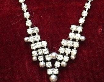 Vintage Art Deco Rhinestone Necklace - Princess Length